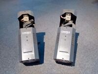 Pair of moving mirror disco scanners
