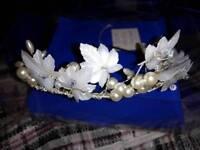 Beautiful ivory, pearl and silver tiara