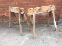 Pair of Wooden Saw Horses