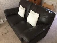 Quality brown leather two seater sofa