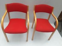 Vintage retro red wool Danish mid century armchairs dining office chairs x 2 4 pair stacking
