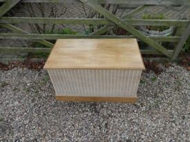 SOLID WOOD --NOT PINE --OTTOMEN / CHEST / BLANKET BOX --WITH WICKER SURROUND --LARGE SIZE --
