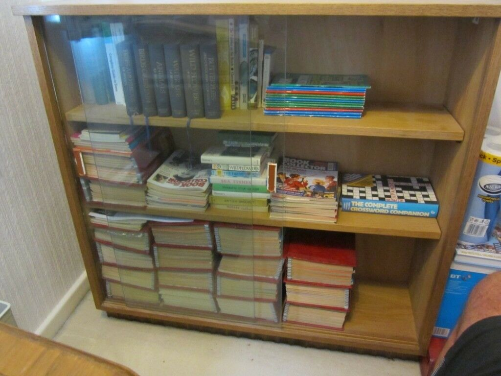 Very Solid Light Oak Bookcase Sliding Glass Doors Display Cabinet Bookshelves Excellent Quality In Yate Bristol Gumtree