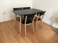 Dining table and 4 chairs, modern, compact, blonde wood & black laminate