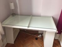 Desk (white) with glass top in good condition