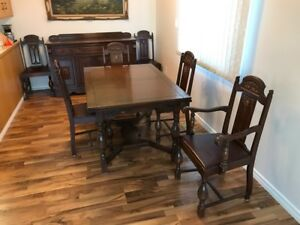 Solid Wood Table Buffet And Chairs