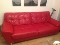 DFS 4 seater leather sofa