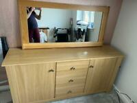 Sold wood Unit and solid wood mirror. Furniture