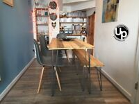 Reclaimed Wood Dining Table and 1 Bench with black steel hairpin legs.