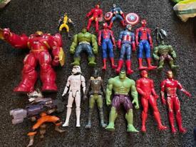 Marvel super hero action figures and Starwars
