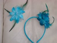 Clip in turquoise glitter flower & fascinator. £4.00 for both or will sell separately. Ideal for wed