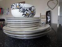 Denby monsoon Chrysanthemum plates and bowls