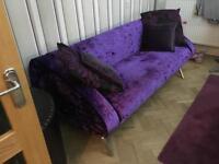 Purple designer velvet retro sofa