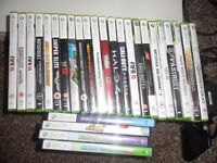 Xbox 360 with Kinect,earphones,controllers and games