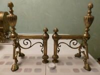 Pair Of Large Solid Brass Antique Fire Iron Rests or Dogs