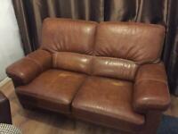 Italian brown leather 2 seater sofa