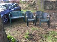 Robust Dark Green Garden Furniture. 2 seater and 4 chairs