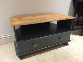 Pine tv unit with drawer painted in farrow & ball paint