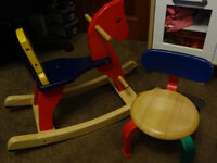 Pintoy Wooden Rocking Horse and wooden low chair