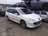 2007 2008 2009 2010 PEUGEOT 307 SW FACELIFT ESTATE 1.6 HDI IN WHITE EWPB 9HX ENGINE SPARES