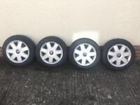 4x108 Ford Ka Tires + Hub Caps