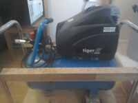 Tiger 8/44 electric powered air compressor, excellent condition, c/w hose