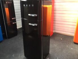 SUPERB GLOSSY BLACK FAB30 SMEG FRIDGE FREEZER, wth warranty, can view/deliver