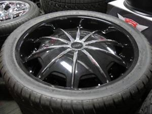28 INCH NEW HUMMER H2 RIMS & TIRES - BLACK & CHROME DEEP DISH - SALE ON NOW