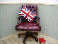 Stunning Oxblood Leather Chesterfield Captains Chair.