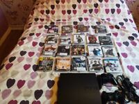 PS3 160gb black 2 controllers and 19 games and all wires