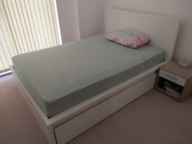 Almost NEW IKEA beds, mattresses, side tables, 3 seater sofa-cum bed, dining table + 4 chairs