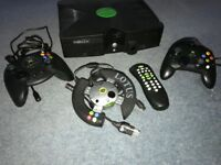 Xbox Console (first generation) with 3 x controllers and 6 games