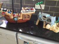 Vintage fisher price pirate ship with island