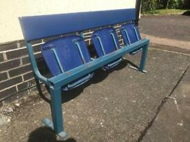 Vintage row of 3 waiting room / platform waiting chairs