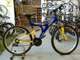 EMMELLE INTENSE BIKE 26 INCH WHEELS 18 SPEED FULL SUSPENSION BLUE/YELLOW GOOD CONDITION