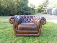 Beautiful Brown Leather Big Chunky Chesterfield Club Chair Unlike Others
