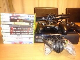 Xbox 360 500gb with kinect and 12 games