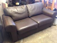 CHOCOLATE BROWN LEATHERETTE / LEATHER LOOK TWO SEATER SOFA IN VERY GOOD USED CONDITION FREE DELIVERY