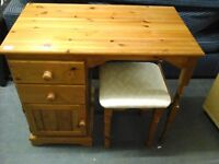 Pine dressing table with cream material stool