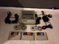 Super Nintendo snes console and games bundle inc Mario