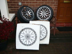 """Brand New WOLFRACE ALLOY WHEELS 215 45 17 TYRES voyager c s max focus 17"""" INCH 5x114 alloys wheel"""
