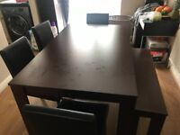Brand New Dinner Table with 4 leather chairs & bank