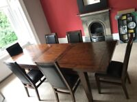 Dining table and chairs, extendable
