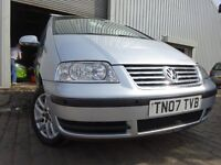 "07 VOLKSWAGEN SHARAN 1.9 DIESEL""7 SEATER""MOT AUGUST 017,3 OWNERS FROM NEW,2 KEY,PART SERVICE HISTORY"