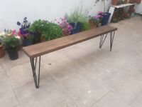 Reclaimed Wood Hairpin leg Benches and Dining Tables