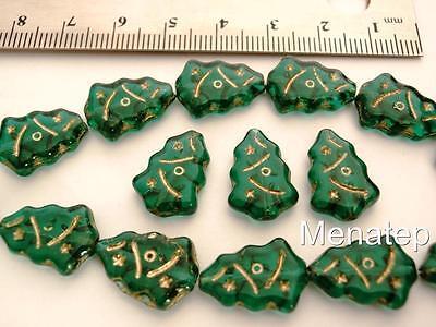 12 17x7mm Czech Glass Christmas Tree Beads: Emerald - Gold (Christmas Beads)
