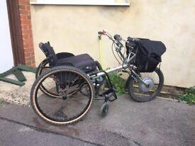 PDQ Powertrike wheelchair bike and titanium wheelchair