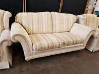 striped fabric two seater sofa and 2 Armchairs