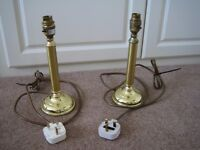 PAIR OF BRASS EFFECT LAMPS