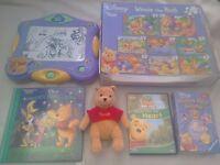 Winnie The Pooh Bear Toy Bundle Bumper Jigsaw puzzles + Game + beanie + DVD